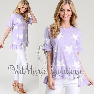 Lilac star print ruffle tshirt